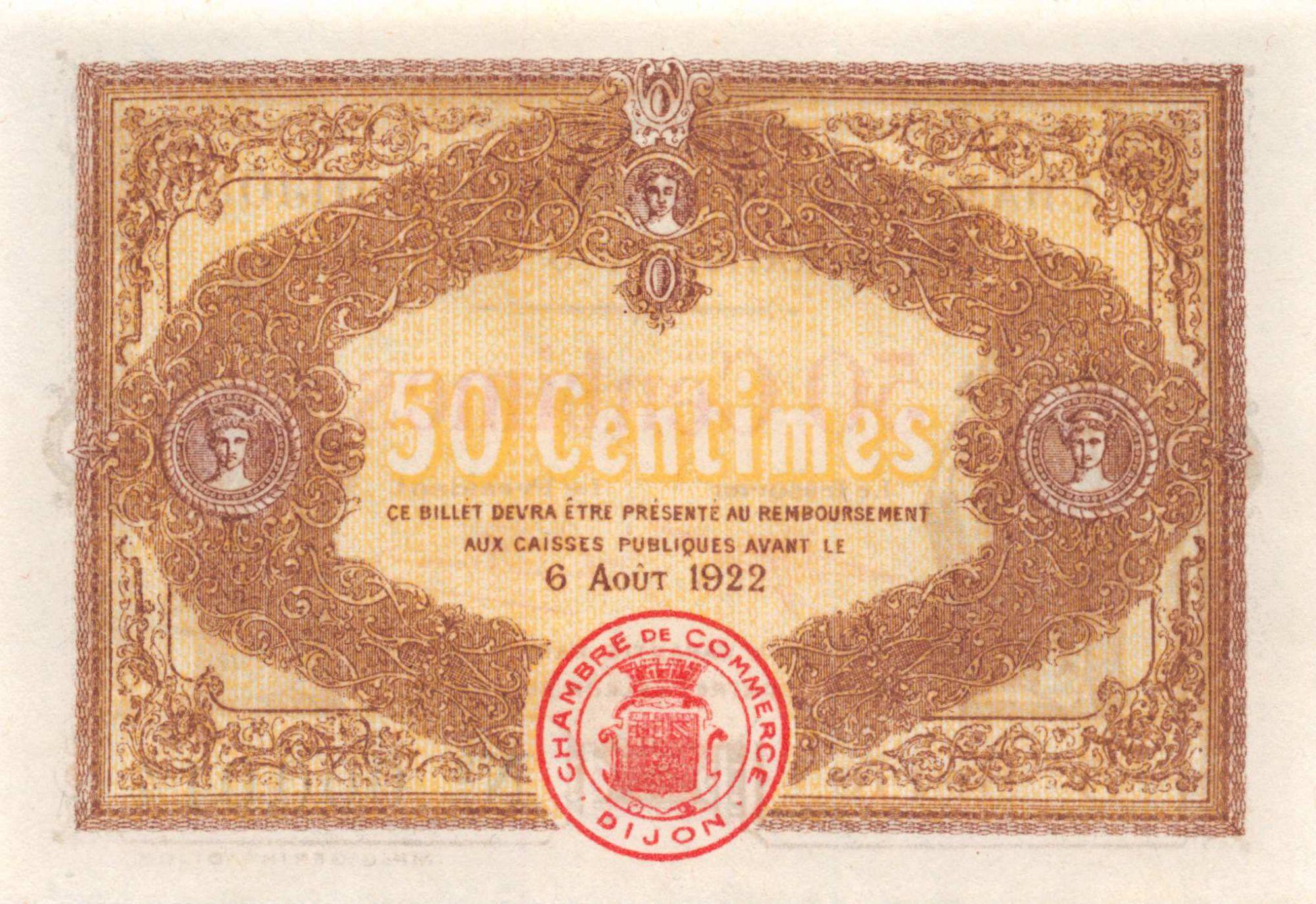 France 50 Centimes - Chambre de Commerce de Dijon 1917 - P.NEUF