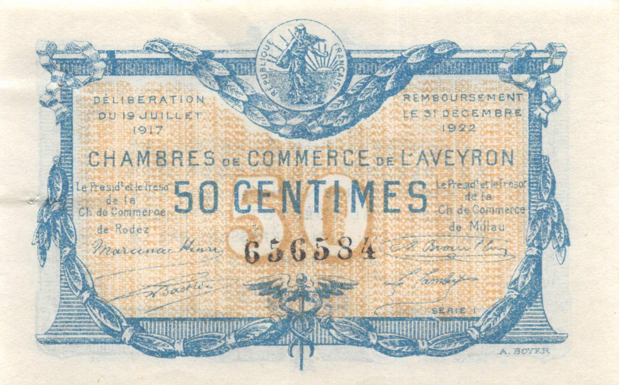 France 50 Centimes - Chambre de Commerce de l\'Aveyron 1917 - SUP