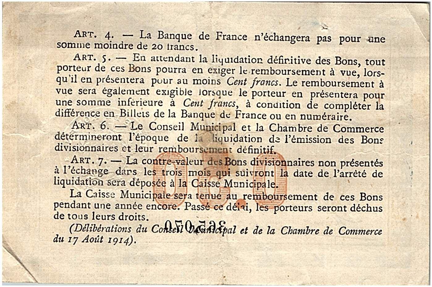 France 50 Centimes - Chambre de Commerce de Rouen 1916 - TTB