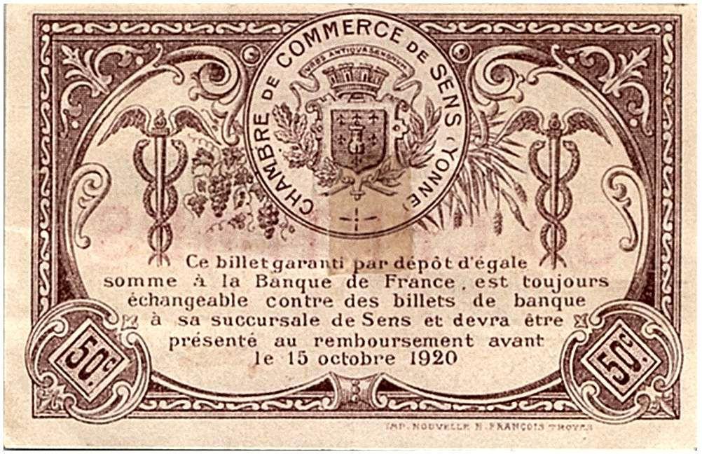 France 50 Centimes - Chambre de Commerce de Sens 1916 - TTB