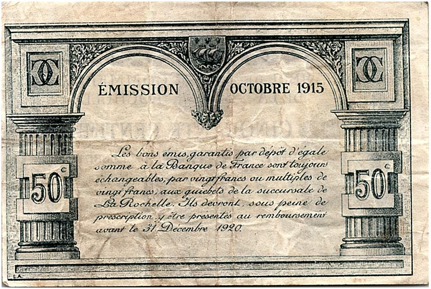 France 50 Centimes - La Rochelle Chamber of Commerce 12-1915 - VF