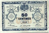 France 50 Centimes - Rouen Chamber of Commerce 1916 - VF
