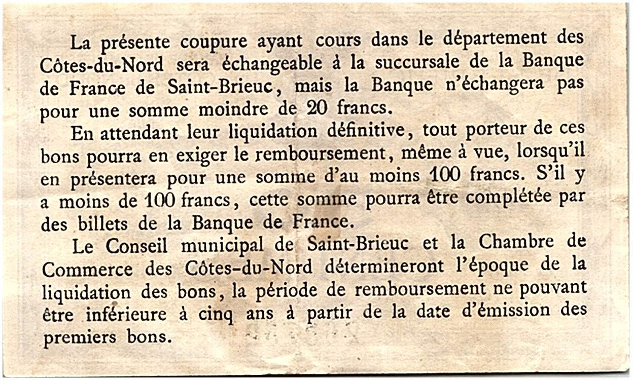 France 50 Centimes - Saint Brieuc Chamber of Commerce ND (1914-1918) - VF