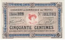 France 50 Centimes - Troyes Chamber of Commerce 1918 - aUNC