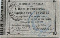 France 50 Centimes Appilly Bon Municipal 1914