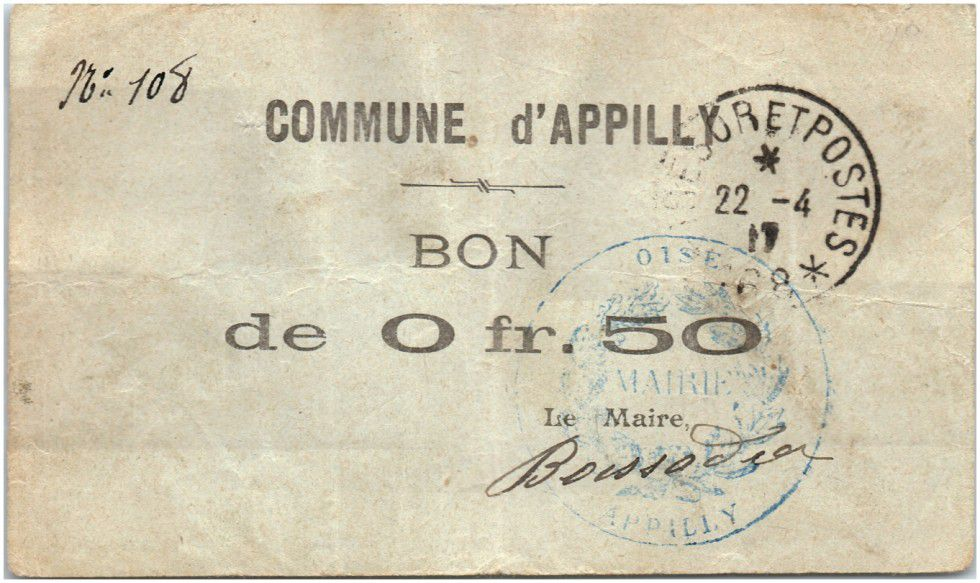 France 50 Centimes Appilly Commune