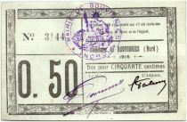 France 50 Centimes Bouvignies City - 1915