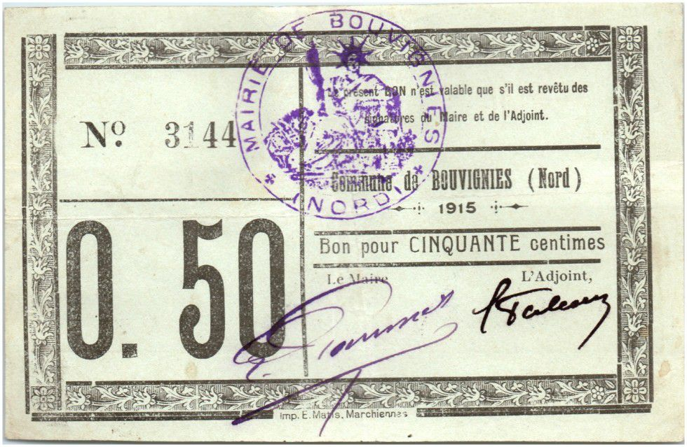 France 50 Centimes Bouvignies Commune - 1915