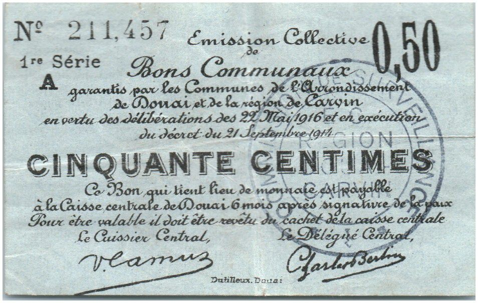 France 50 Centimes Douai City - 1916