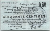 France 50 Centimes Douai Commune - 1916