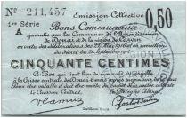 France 50 Centimes Douai Commune - 1916