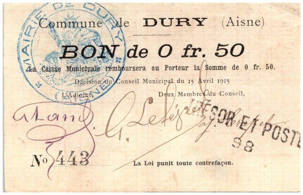 France 50 Centimes Dury Commune - 1915