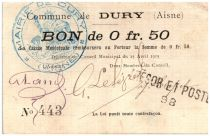France 50 Centimes Dury Commune - 1915
