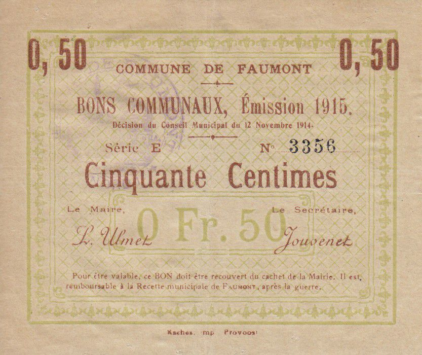 France 50 Centimes Faumont City - 1915