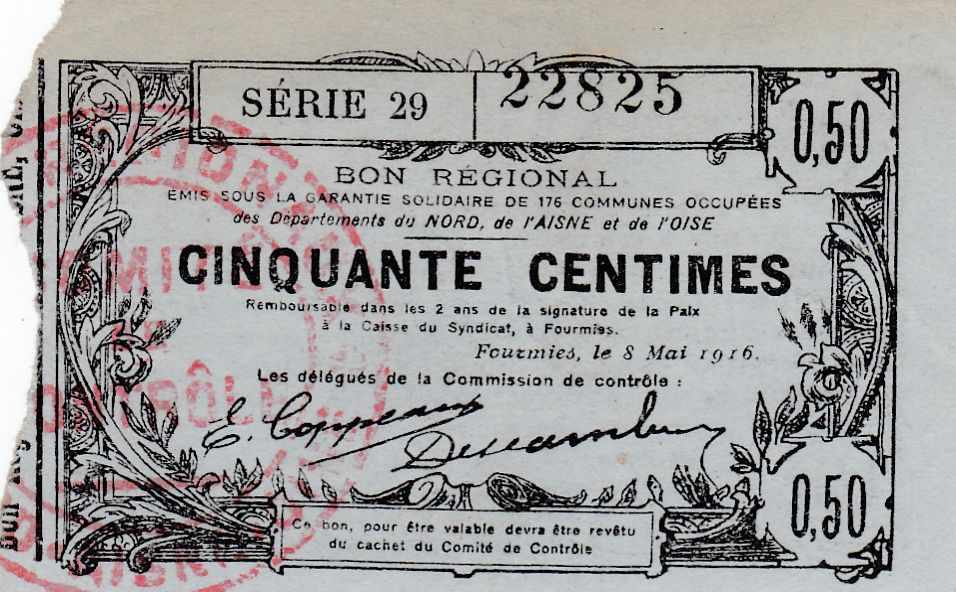 France 50 Centimes Fourmies - 08/05/1916