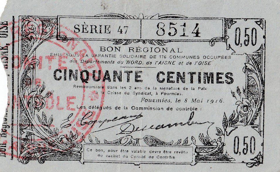 France 50 Centimes Fourmies - Série 47 -  08/05/1916