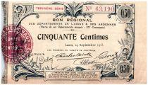 France 50 Centimes Laon Régional - 1915
