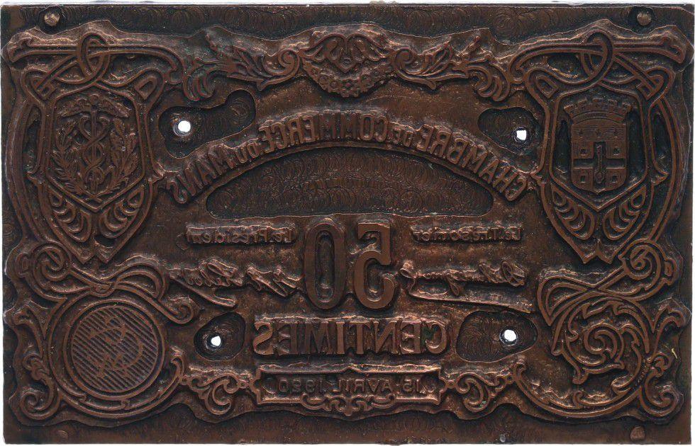France 50 Centimes Le-Mans Paire de plaques d´impressions - 1920