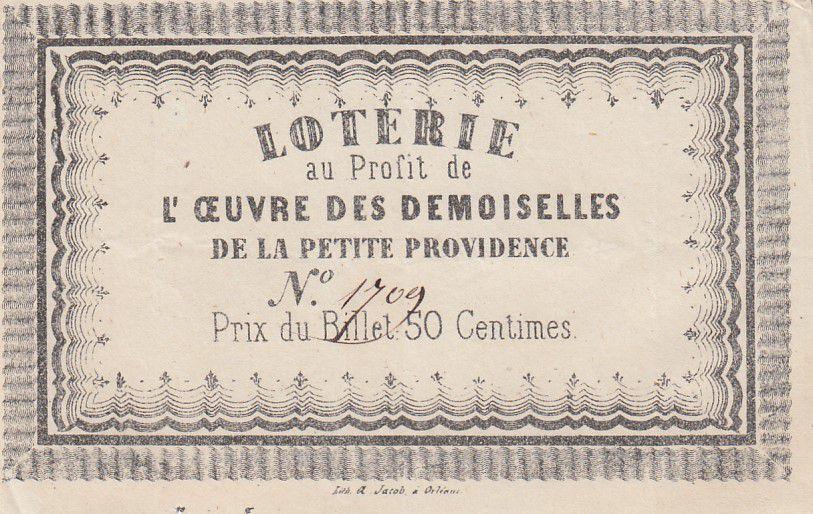 France 50 Centimes Loterie Oeuvre des Demoiselles de la Providence - Orléans - TTB