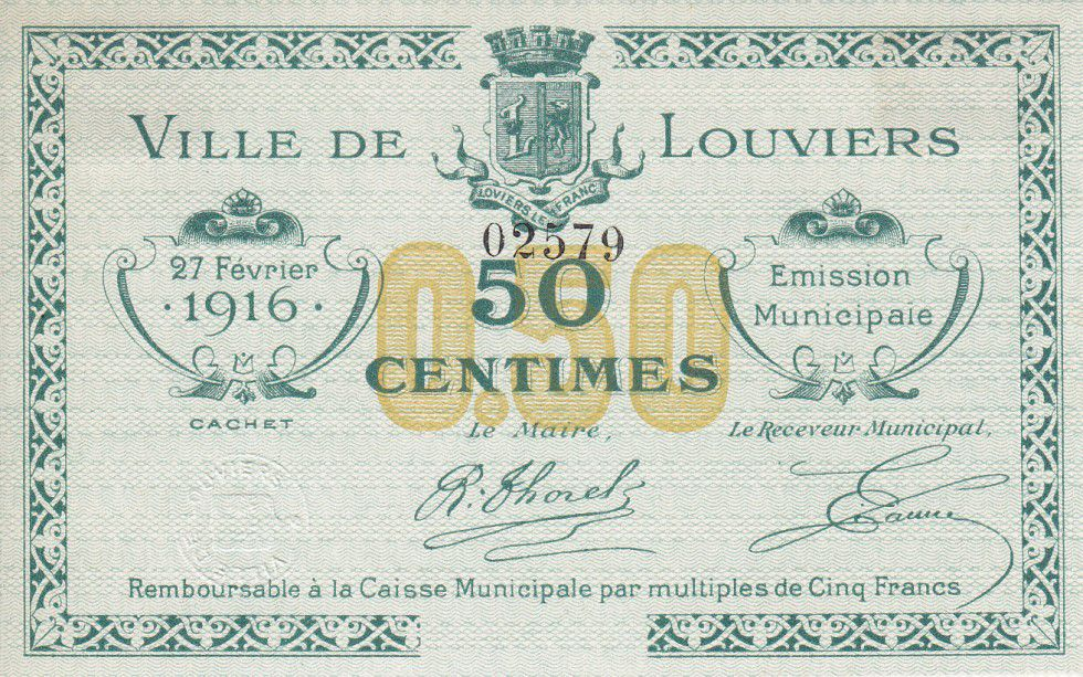 France 50 Centimes Louviers Municipal emission