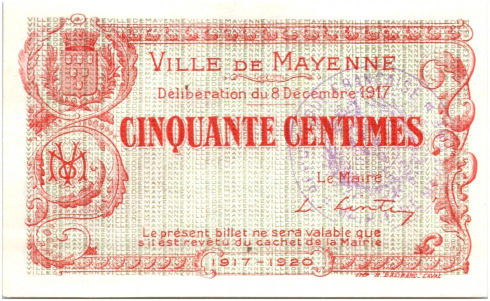 France 50 Centimes Mayenne City - 1917