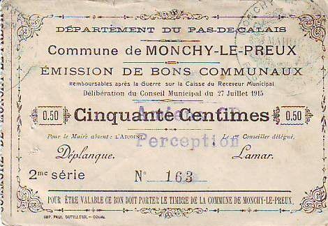 France 50 Centimes Monchy-Le-Preux
