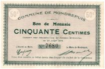 France 50 Centimes Mondrepuis Commune - 1915
