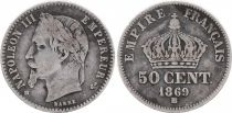 France 50 Centimes Napoleon III - Laureate head 1869BB Strasbourg