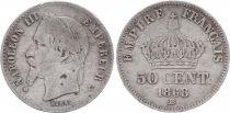 France 50 Centimes Napoléon III - Tête laurée 1868 BB Strasbourg