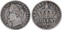 France 50 Centimes Napoléon III - Tête laurée 1869 BB Strasbourg