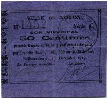 France 50 Centimes Noyon City - 1915