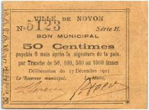 France 50 Centimes Noyon Ville - 1915
