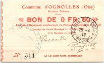 France 50 Centimes Ognolles City - 1915