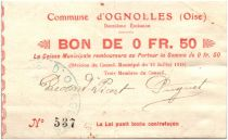 France 50 Centimes Ognolles Ville - 1915