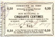 France 50 Centimes Oisy Bon Municipal - 1915