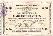 France 50 Centimes Oisy Commune - 1915
