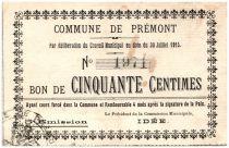 France 50 Centimes Premont Commune - 1915
