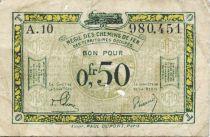 France 50 Centimes Régie des chemins de Fer - 1923 - Série A.10 - TB