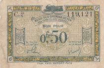 France 50 Centimes Régie des chemins de Fer - 1923 - Série C.2