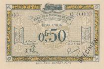 France 50 Centimes Régie des chemins de Fer - 1923 - Spécimen Série OO