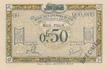 France 50 Centimes Regie des chemins de Fer - 1923 - Specimen Serie OO