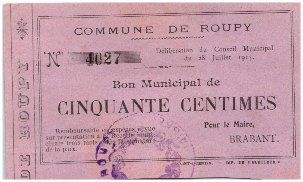 France 50 Centimes Roupy Commune - 1915