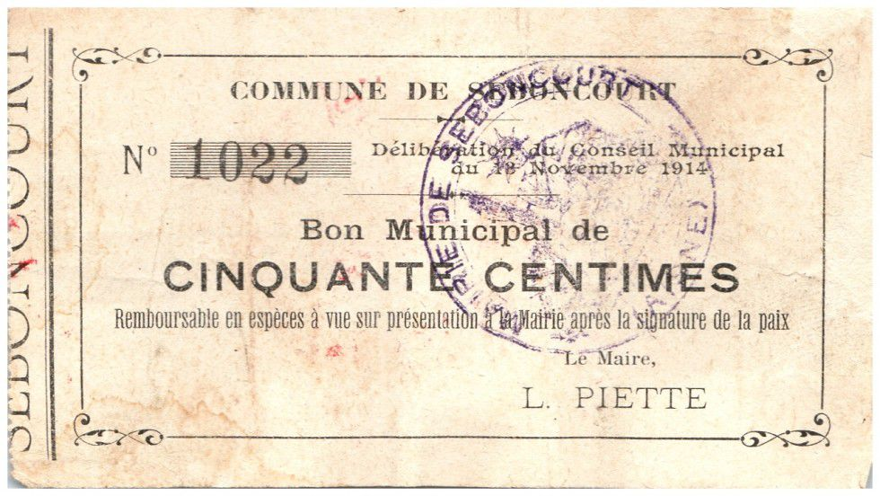 France 50 Centimes Seboncourt Commune - 1915