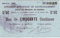 France 50 Centimes Sedan Synd.de ravitaillement
