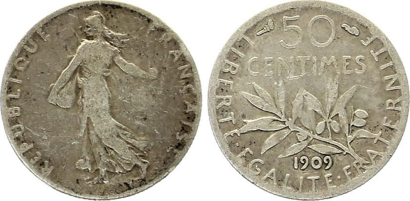 France 50 Centimes Semeuse - 1909 Silver