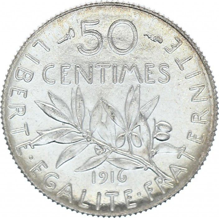 France 50 Centimes Semeuse - 1916 FDC