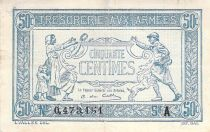 France 50 Centimes Soldier and family - 1917 Serial A - F+