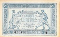 France 50 Centimes Soldier and family - 1917 Serial G - VF+