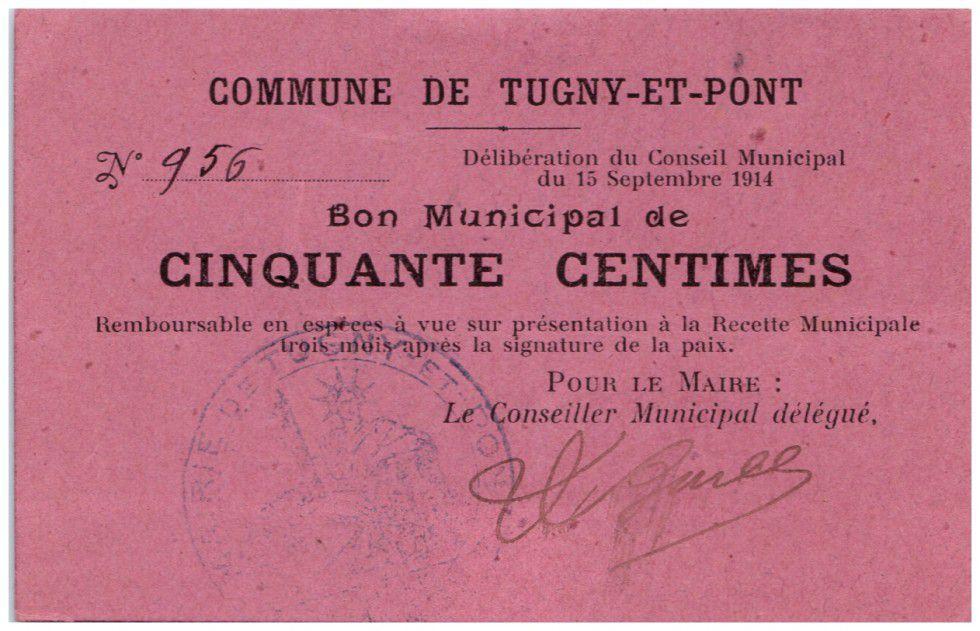 France 50 Centimes Tugny-Et-Pont City - 1914