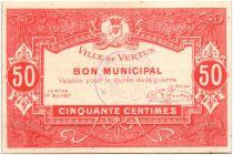 France 50 Centimes Vertus City - 1917